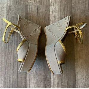 Prada Gold Strappy Wedges